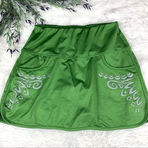 Athleta Green Reflective Athletic Mini Chase Skirt